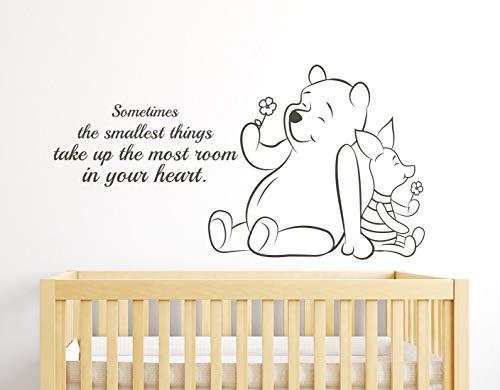 Sometimes The Smallest Things Take up The Most Room in Your Heart Winnie The Pooh Quote Nursery Wall Decals Art Decor Sticker Vinyl,26 Inch Width