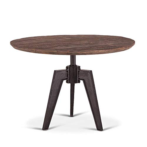 Round Farmhouse Dining Table   Naples 42-Inch Dining Table Adjustable Height with Reclaimed Wood and Iron Cast Base (Mango Wood)
