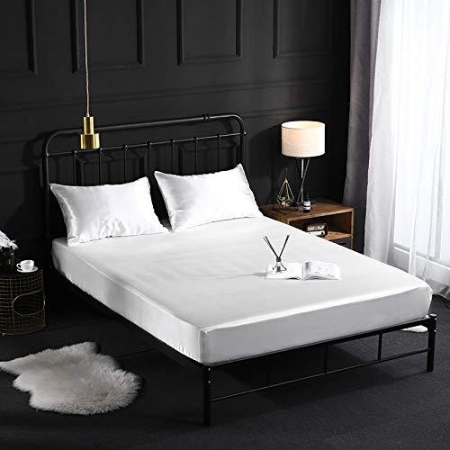 Wenhu Einfarbig Silk smotth Touch Betttuch mit elastischer Bett Auskleidungen Hauptdekoration,2,138x190x40cm
