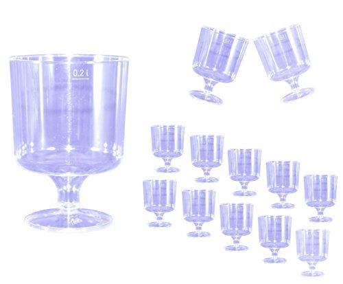 EVENTpac 100 Einweg Weingläser 200ml glasklar einteilig mit Füllstrich 0,2 l Weinglas - Weinbecher
