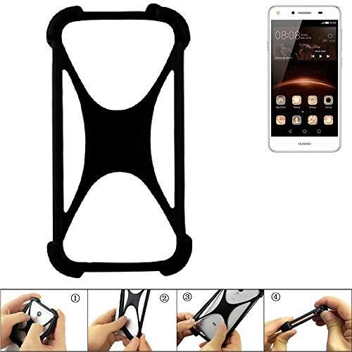 K-S-Trade® Handyhülle Für Huawei Y5 II Single SIM Schutz Hülle Silikon Bumper Cover Case Silikoncase TPU Softcase Schutzhülle Smartphone Stoßschutz, Schwarz (1x),