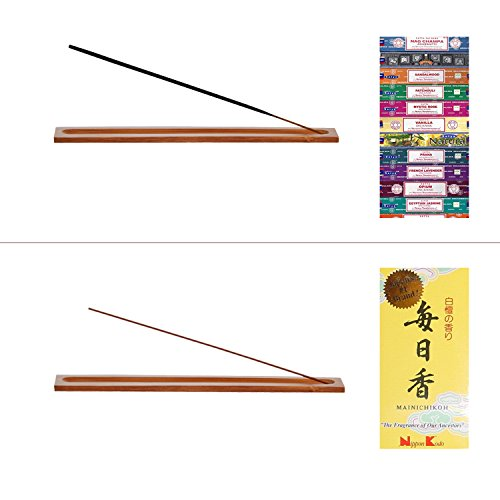 UOON Bamboo Incense Holder, Stick Incense Burner Holder with Ash Catcher (2 Piece)