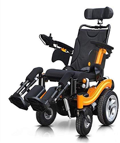 GQQ Komfort Leichter Faltbarer Elektrischer Rollstuhl Elektrischer Rollstuhl Alter Mann Kann In Der Älteren Behinderten Offroad-Rollstuhl-Elektrorift-Bein-Rückenlehne Liegen