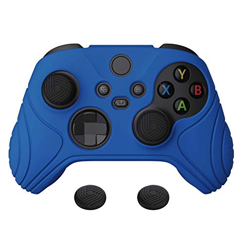 eXtremeRate PlayVital Samurai Edition Blue Anti-Slip Controller Grip Silicone Skin, Ergonomic Soft Rubber Protective Case Cover for Xbox Series S/X Controller with Black Thumb Stick Caps