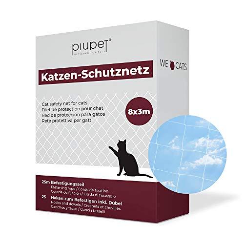 PiuPet® Rete Protettiva per Gatti (Trasparente), Extra Grande, Corda di Fissaggio Inclusa, Rete di Sicurezza di Alta qualità, per balconi e finestre (8 x 3 m)