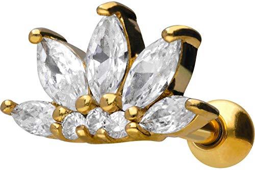 PIERCINGLINE Chirurgenstahl Ohrpiercing   Kristall Lotusblüte   Ohr Stecker Piercing Schmuck   Farbauswahl