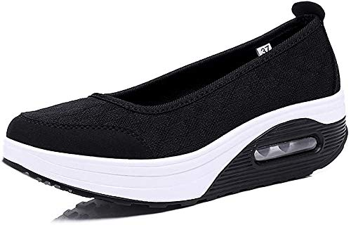 Zapato de Deporte Mujer Malla Cuña Plataforma Zapatillas Transpirable Antideslizante Adelgazar Height-Increasing Fitness Sneaker