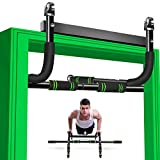 AHNNER Pull Up Bar for Doorway, 6 in 1 Multifunctional Chin Up Bar with Ab Roller Wheel Upper Body Workout Bar, Door Pullup Bar- No Screw Installation Indoor Home Fitness Strength Training Pullup Bar