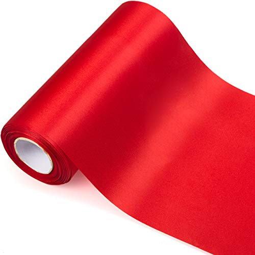 ADVcer 11.8 inch Wide Red Satin Ribbon Roll - 24.1 Yard Long Bulk for Christmas Holiday Decorative, Wedding Birthday Ceremonial, Gift Wrapping, Ribbons Cutting, Chair Sashes, Indoor Outdoor Embellish