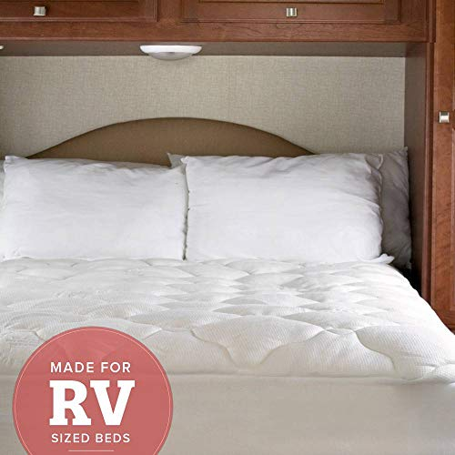 eLuxurySupply RV Mattress Pad - Extra Plush Bamboo Topper with Fitted Skirt - Made in The USA - Hypoallergenic - Mattress Cover for RV, Camper - RV King