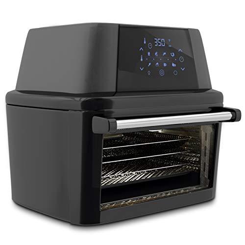 NutriChef PKAIRFR96 1800W High Power Air Fryer Plus Food Dehydrator And Rotisserie Oven Combo-17+ Quart, (L x W x H): 11.8'' x 9.8'' x 7.5'', Black