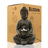 "Meditating Buddha Statue Figurine Sitting Sculpture Decoration 8"" Tealight Holder/Candle Holder for Home, Garden, Patio with a LED Tea Light, Polyresin, Antique Bronze Look(1 Pack)"
