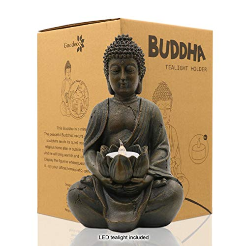 Meditating Buddha Statue Figurine Sitting Sculpture Decoration 8' Tealight Holder/Candle Holder for Home, Garden, Patio with a LED Tea Light, Polyresin, Antique Bronze Look(1 Pack)