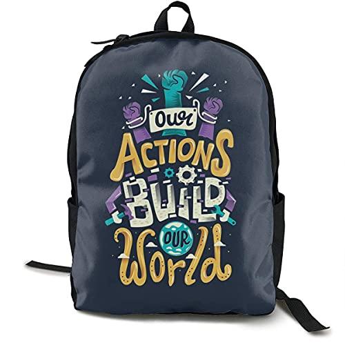 WEQDUJG Hochschule Rucksack School Backpack Characters Letters 3D Adult Outdoor Leisure Sports Backpack high School Computer Bag