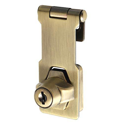 Sayayo EMS1100Q-3C - Cerrojo de puerta con cerradura de seguridad (3 pulgadas, 2 llaves incluidas, acero inoxidable, acabado en bronce antiguo)