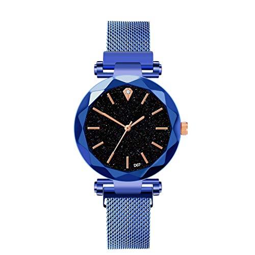 Hzing Mode Damen Quarz Casual Analoge Armbanduhr Mit Elegantem Sternenhimmel Zifferblatt und Diamant Einfache Kleid Uhren