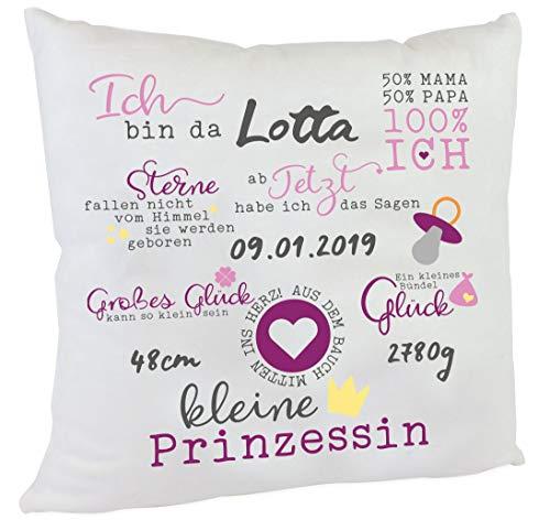 Personalisiertes Namenskissen Spruch zur Geburt oder Taufe Mädchen Kissen Geschenk Kuschelkissen Babykissen Farbe rosa