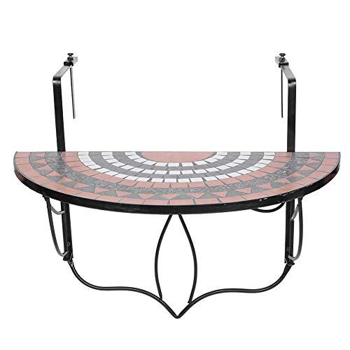 AYNEFY - Mesa plegable para balcón, mesa de jardín, mesa de terraza, plegable, mesa de café, mesa auxiliar para colgar, barandilla de balcón, mesa semicircular de tul y metal, tablero de 76 x 64 cm