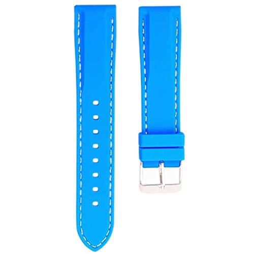 1 correa de reloj de silicona de 16/18/20/22/24 mm a prueba de agua portátil de liberación rápida con hebilla de acero inoxidable agradable para correa de reloj de repuesto