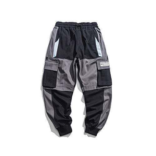 Huntrly Herren Frachthose Kampfhose Streetwear Punk Casual Kordelzug Bänder Harem Joggerhose Slim Fit Trainingsanzug mit Mehreren Taschen Arbeitskleidung Jogginghose M