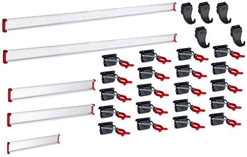 BRUNS Gerätehalter-Set - 20 Gerätehalter 5 Haken Führungsschienen 2x100cm 2x50cm 30cm