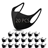 20 PCS Black Windproof Dustproof _Masks_Covers with Elastic Ear Loop Cover Full Face Anti-Dus,Breathable Reusable Washed