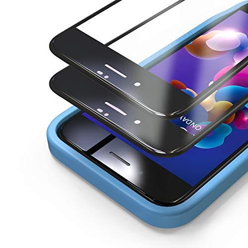 Bewahly Panzerglas Schutzfolie für iPhone 8 Plus/7 Plus [2 Stück], 3D Full Screen Panzerglasfolie 9H Displayschutzfolie mit Installation Werkzeug für iPhone 8 Plus/7 Plus (5,5 Zoll) - Schwarz