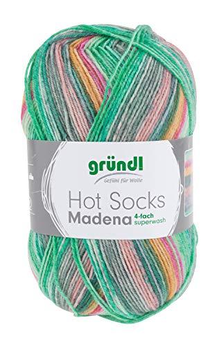 GRÜNDL Sockenwolle Hot Socks Madena 100g 420m Lauflänge 4-fädig Soft-Ice-Mix, Farbe 05