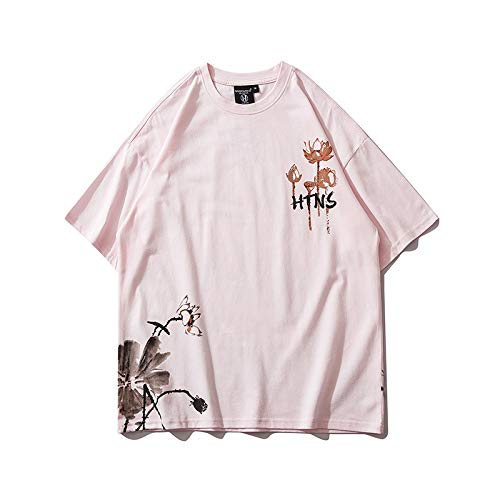 DREAMING-Ink-Painted Summer Short-Sleeved Sweatshirt Loose Print Round-Necked Cotton T-Shirt Top Men's and Women's Couples Shirt Large Pink