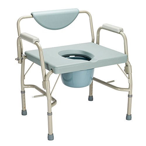 OMECAL 550 lbs Heavy Duty Drop Arm Medical Bedside Commode Chair, Homecare Toilet Seat with Safety Steel Frame, 6 Quart Capacity Pail, Adjustable Height Support Tool-Free Easy Assembly