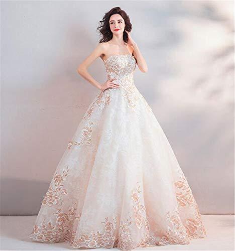 LYJFSZ-7 Vestido De Novia,Vestido De Novia Elegante con Parte Superior De Tubo Y Sin Tirantes, Estilo Princesa, Blanco Albaricoque