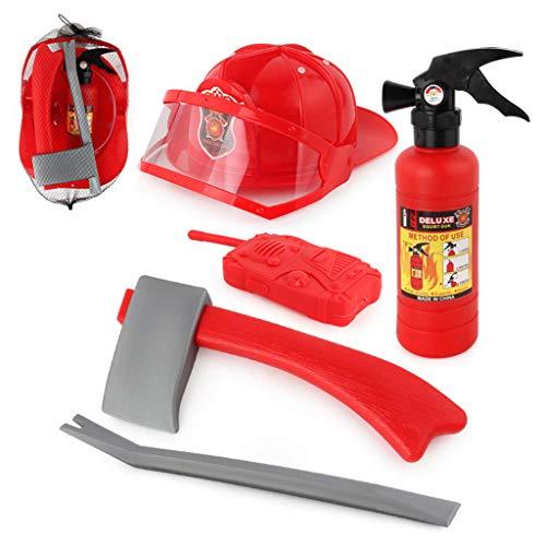 siwetg 5 stks kinderen brandweerman brandweerman cosplay speelgoed kit helm brandblusser intercom bijl sleutel geschenken voor kinderen