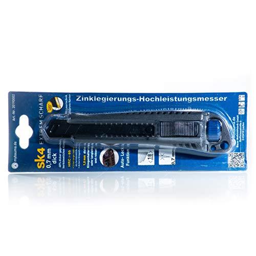Profi Cuttermesser | Hochleistungsmesser | 18 mm breite geschwärzte, rostfreie Klingen