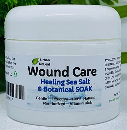 Urban ReLeaf Wound Care ! Healing Sea Salt & Botanical SOAK ! Safely Clean, Disinfect & Heal Wounds. Gentle, Effective, Non-iodized, 100% Natural. Vitamin Rich