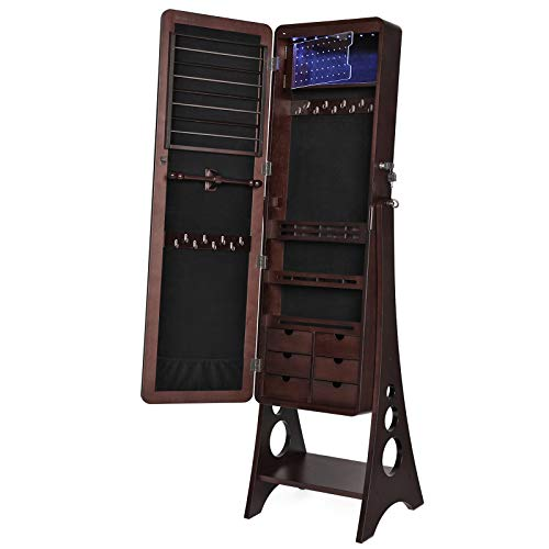 Jewelry Cabinet Armoire with Cheval Full Length Mirror