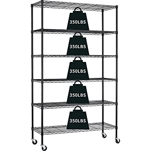 Garage Shelving, 82'x48'x18' Metal Shelves 6 Tier Wire Shelving Unit Adjustable Heavy Duty Sturdy Steel Shelving with Casters for Pantry Garage Kitchen (Black)
