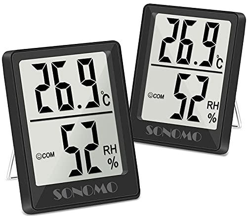SONOMO Thermo-Hygrometer,2 Stück Digital Hydrometer Innen, Thermometer Innen Feuchtigkeit Hohen Genauigkeit,Für vertikale oder Wandmontage Luftfeuchtigkeitsmessgerät,Für Innenraum-(schwarz)