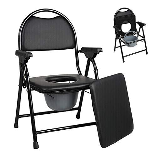 Homecare Commode Chair, opvouwbare toilet-badshow-stoel met leren kussen voor oude man, zwangere vrouw