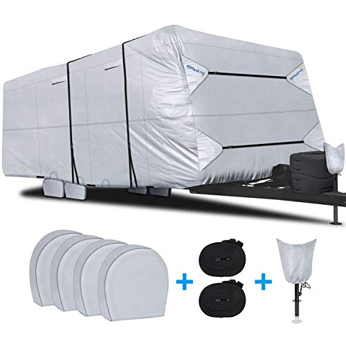 "RVMasking Waterproof Travel Trailer RV Cover, Ripstop Camper Cover with 4 Tire Covers & Tongue Jack Cover, 26'1"" - 28'6"""
