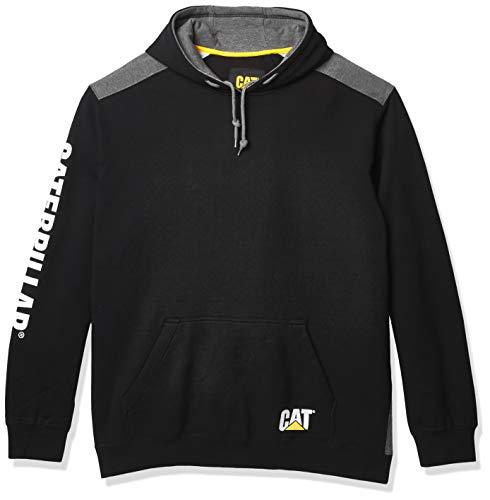 Caterpillar Men's Logo Panel Hooded Sweatshirt, Black, XX-Large