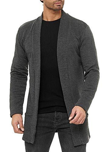 Red Bridge Herren Cardigan Jacke Sweat-Jacke Sakko Long Cut Anthrazit XL