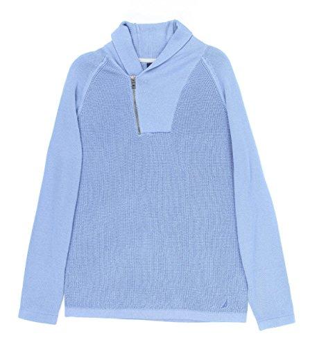 Nautica Men's Shawl Collar Asymmetrical Zipper Sweater [L] [Chrome Blue]