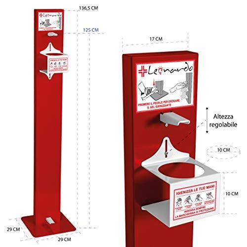 LEONARDO COLONNINA/PIANTANA IN METALLO DISPENSER/DISTRIBUTORE PER GEL IGIENIZZANTE MANI ADATTA A NEGOZI ,AZIENDE-LEO6060 colonna amuchina, gel mani MADE IN ITALY misura 136,5x29x29 (ROSSA CON PEDALE)