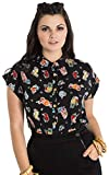 Hell Bunny Pina Colada Blusa Top Rockabilly Pin Up 1950 Vintage Retro Camisa Hawaiana XS-4XL - Negro (4XL)