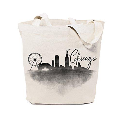 The Cotton & Canvas Co. Chicago Cityscape, Souvenir, Beach, Shopping and Travel Reusable Shoulder Tote and Handbag