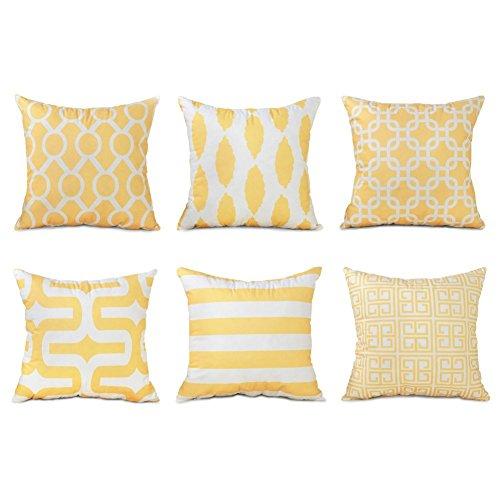 Topfinel Kissenbezüge 45x45 cm aus Mikrofaser Kissenhüllen 6er Set Weich mit Geometrischen Mustern Dekokissenbezüge für Sofa Auto Terrasse Zierkissenbezüge Gelb und Weiß