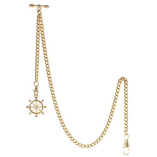 TREEWETO Taschenuhrkette mit T Bar Endstück Albert T-Bar Taschenuhr Kette mit Antiker Ruder Anhänger und 2 Haken für Weste Knopfloch Gold
