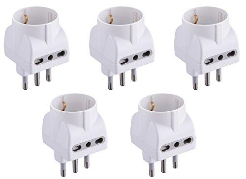 Electraline 92296 Set 5 Adattatori 3 Posti 1 Schuko + 2 Bivalenti 10/16A, Bianco, Confezione da 5