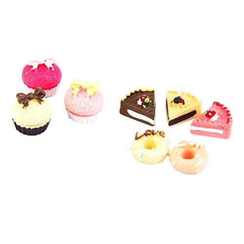 8 Stück 1/12 Mini-Kuchen Puppenstuben Dekoration Spielen Lebensmittel Set...