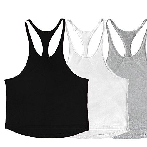 ZUEVI Men's Muscular Cut Bodybuilding Gym Vest Y-Back Tank Top 3 Pack (Black&White&Gray-L)